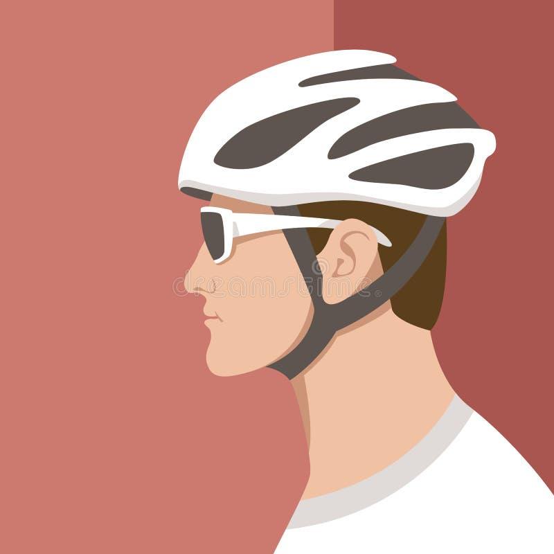 Estilo plano del ejemplo principal del vector de los hombres del ciclista libre illustration