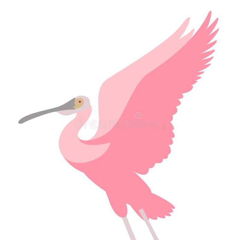Estilo plano del ejemplo del vector del pájaro del spoonbill rosado stock de ilustración