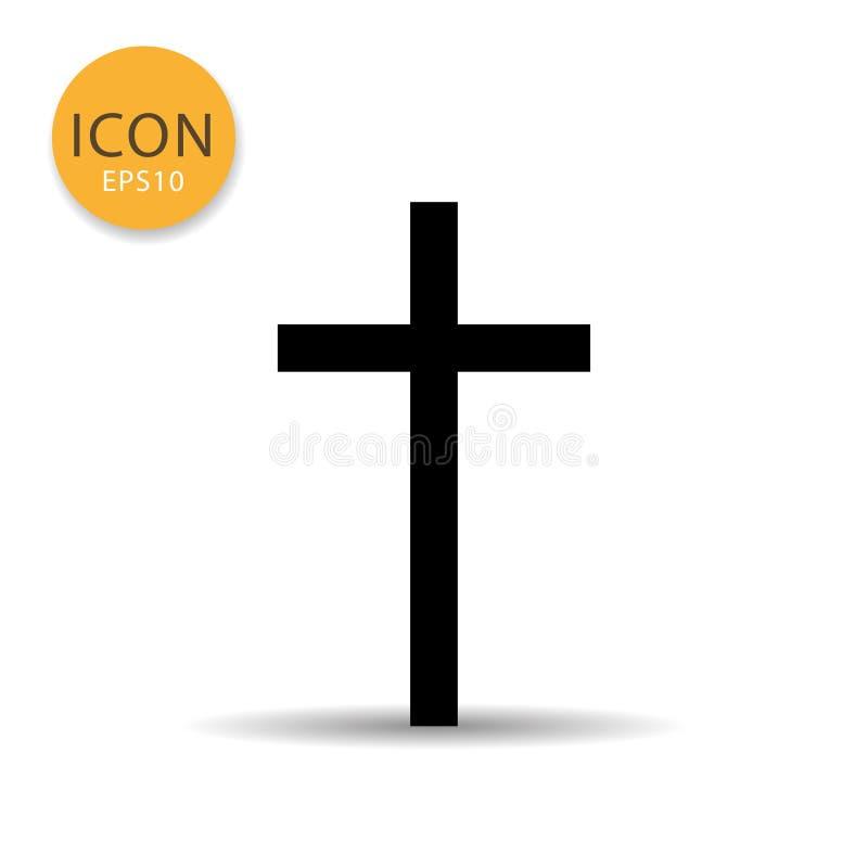 Estilo plano del icono cruzado de la religión ilustración del vector