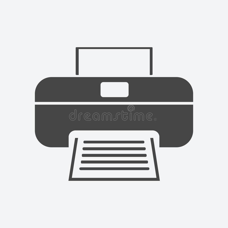 Estilo plano del icono de impresora aislado en fondo Sym de la muestra de la impresora ilustración del vector