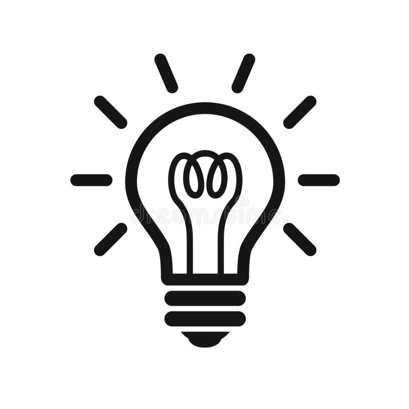 Estilo plano del icono de la bombilla aislado en fondo Símbolo de la muestra del icono de la bombilla stock de ilustración