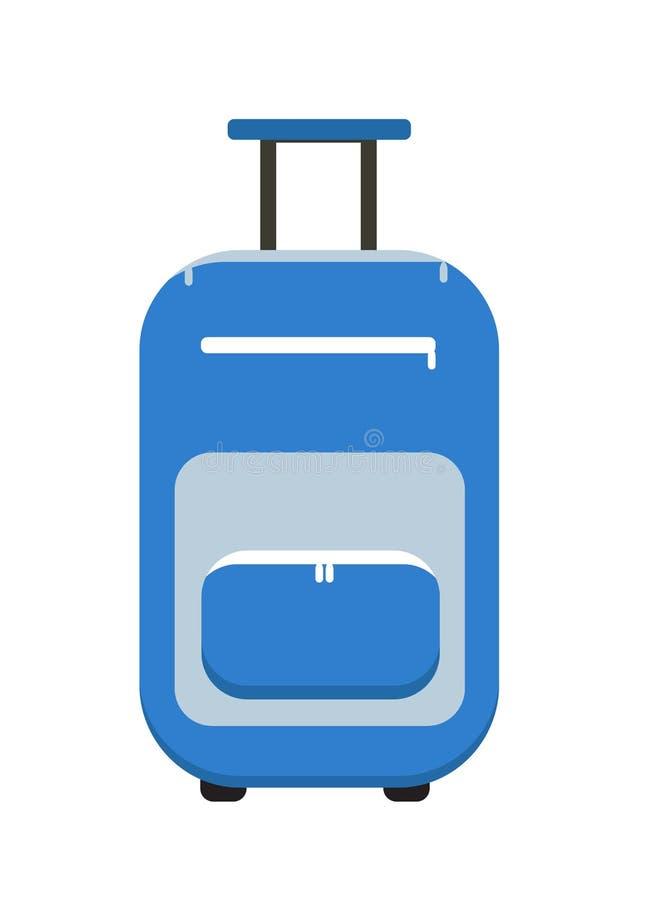 Estilo plano del icono de la maleta del viaje En las ruedas El equipaje aisló un fondo blanco Ilustración del vector libre illustration
