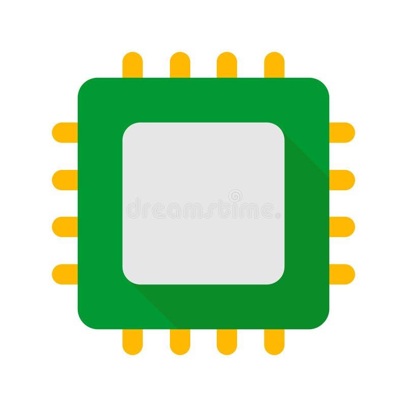 Estilo plano del icono de la pieza del hardware de PC de la CPU libre illustration