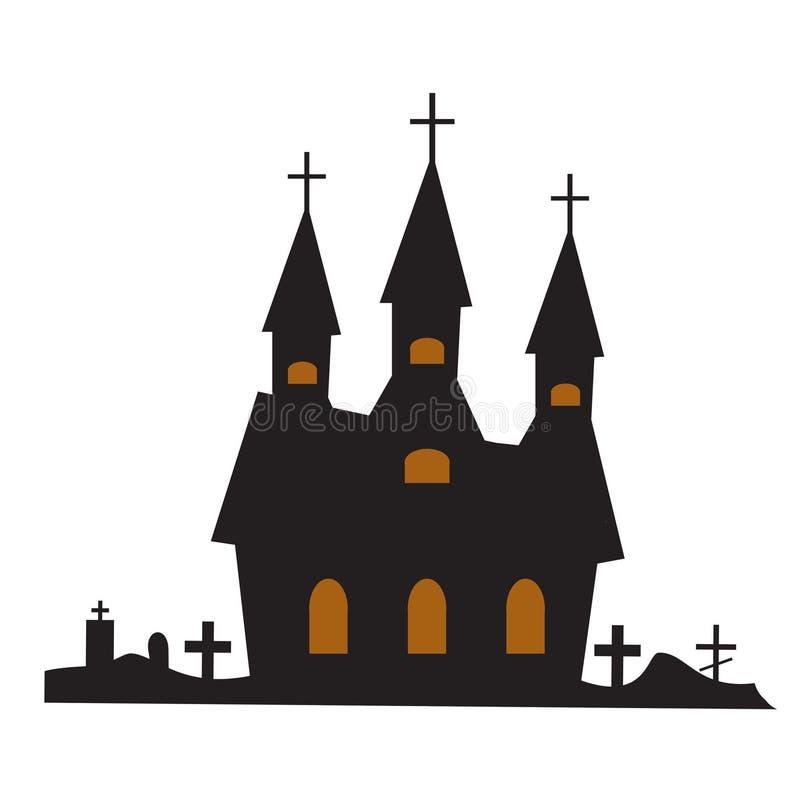 Estilo plano del icono del edificio del castillo Aislado en el fondo blanco Ilustración del vector libre illustration