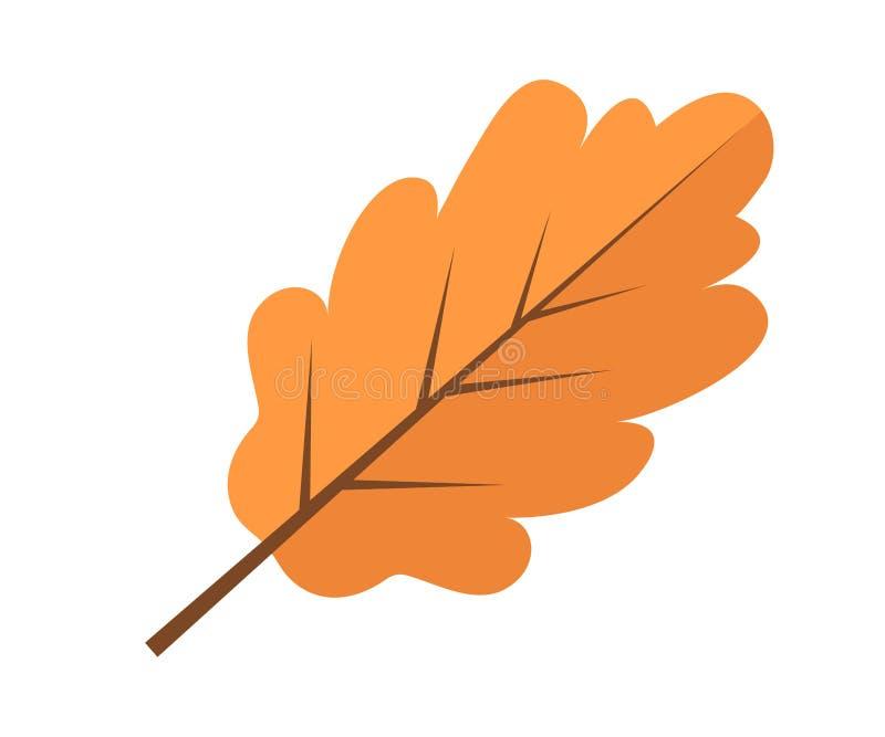 Estilo plano del otoño del roble del icono amarillo de la hoja Aislado en el fondo blanco Ilustración del vector stock de ilustración