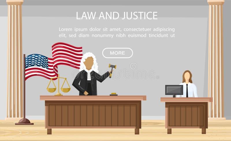 Estilo plano del vector de la corte de la justicia del juez Plantillas del folleto de los órdenes de la ley Conceptos de la justi ilustración del vector
