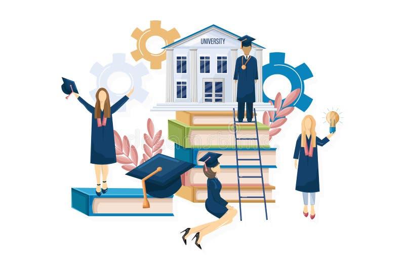Estilo plano del vector de la graduación de los estudiantes Plantilla del conocimiento de los símbolos Momentos felices de los al stock de ilustración