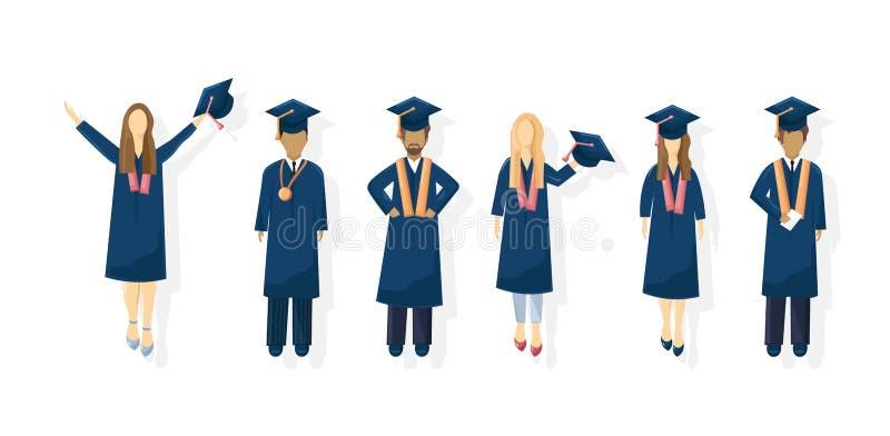 Estilo plano del vector de la graduación de los estudiantes Plantilla del conocimiento de los símbolos Momentos felices de los al libre illustration