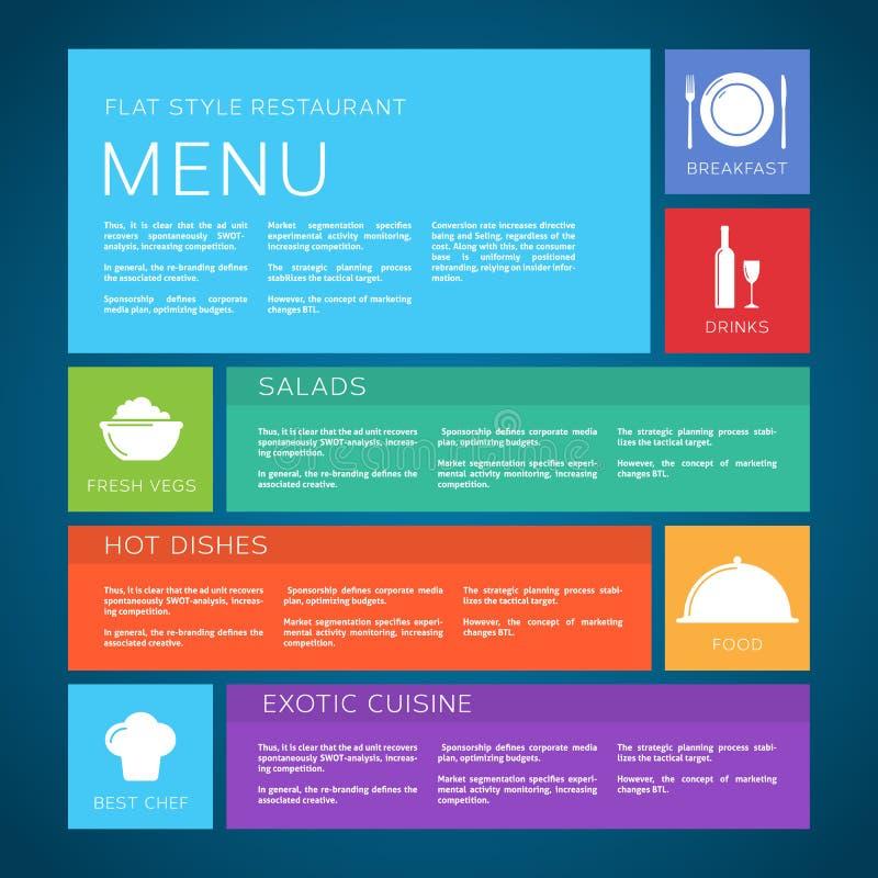 Estilo plano del vector de la plantilla del menú del restaurante libre illustration