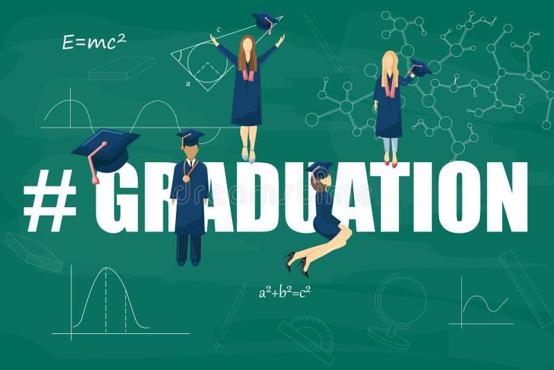 Estilo plano del vector de los estudiantes de la graduación Plantilla del conocimiento de los símbolos Momentos felices de los al stock de ilustración