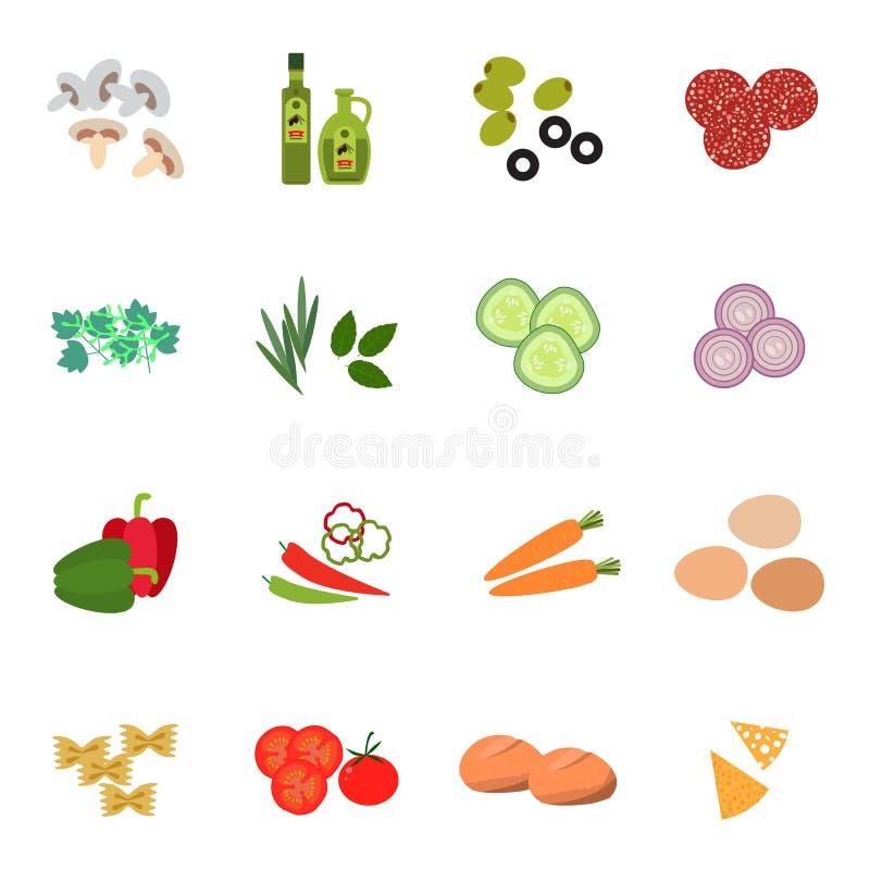 Estilo plano determinado del icono de la comida fresca libre illustration