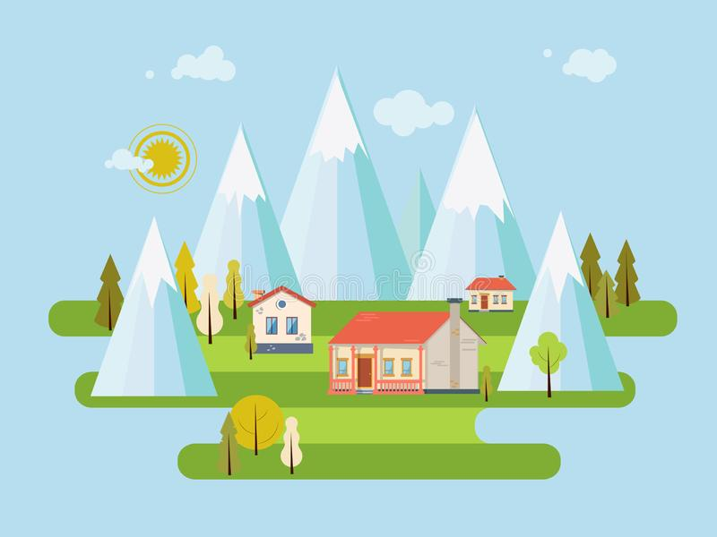Estilo plano exterior suburbano de las propiedades inmobiliarias de la casa de campo del vector Granja de Eco, la casa m?s gest p imagenes de archivo