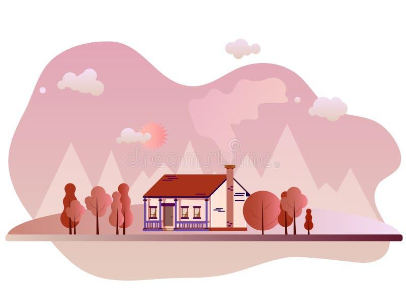 Estilo plano exterior suburbano de las propiedades inmobiliarias de la casa de campo del vector Granja de Eco, la casa m?s gest p imagen de archivo