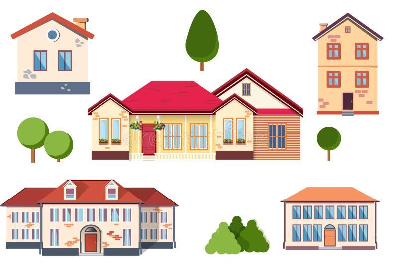 Estilo plano exterior suburbano de las propiedades inmobiliarias de la casa de campo del vector Granja de Eco, la casa m?s gest p foto de archivo