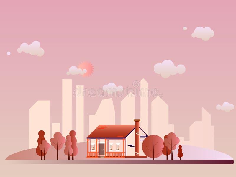 Estilo plano exterior suburbano de las propiedades inmobiliarias de la casa de campo del vector Granja de Eco, la casa m?s gest p fotografía de archivo libre de regalías