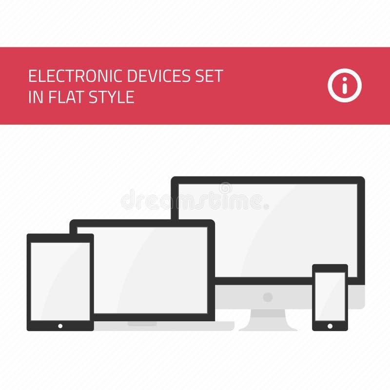 Estilo plano fijado de los dispositivos electrónicos ilustración del vector