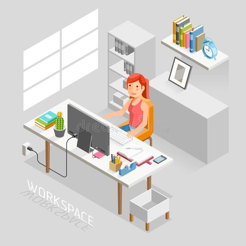 Estilo plano isométrico del espacio de trabajo Hombres de negocios que trabajan en un escritorio de oficina ilustración del vector