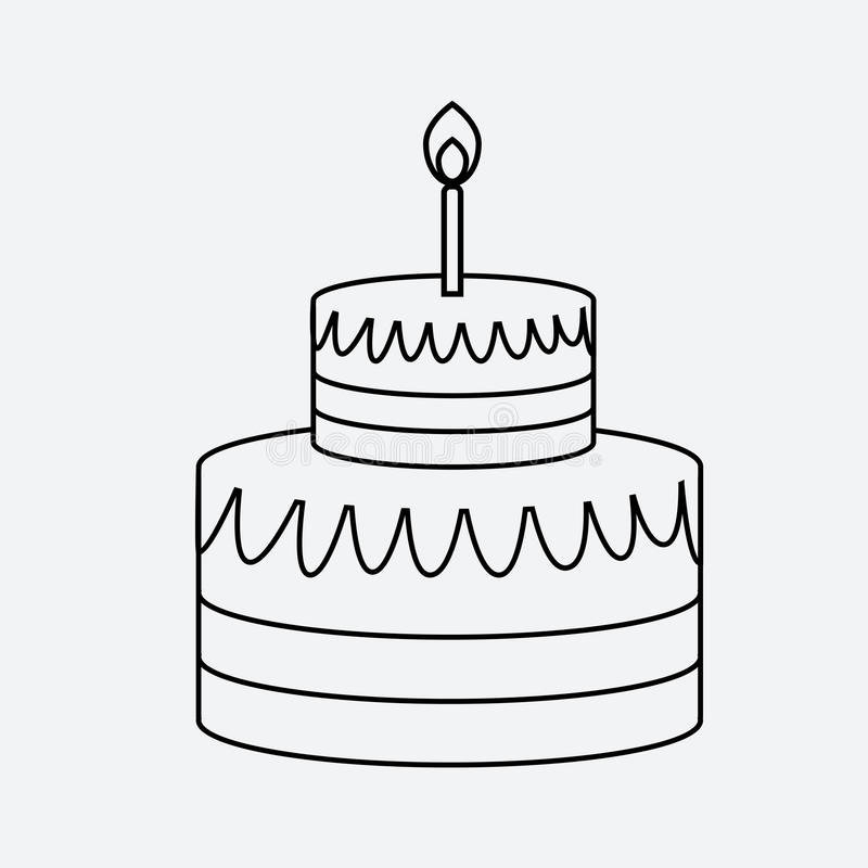 Estilo plano mínimo del icono linear de la torta ilustración del vector