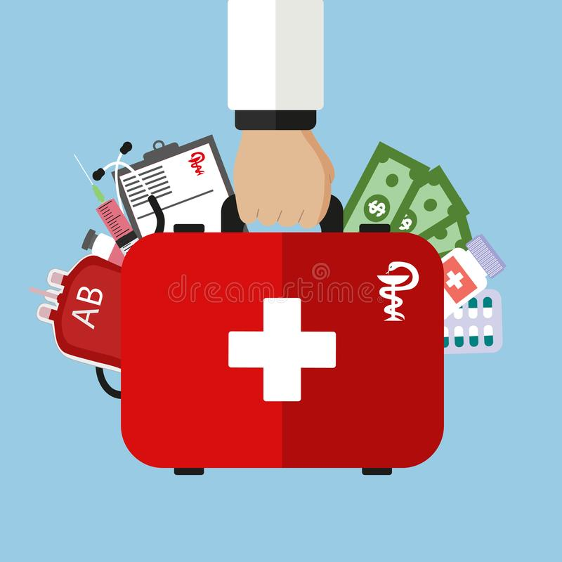 Estilo plano moderno, concepto de la atención sanitaria Mano con el bolso médico y los instrumentos médicos ilustración del vector