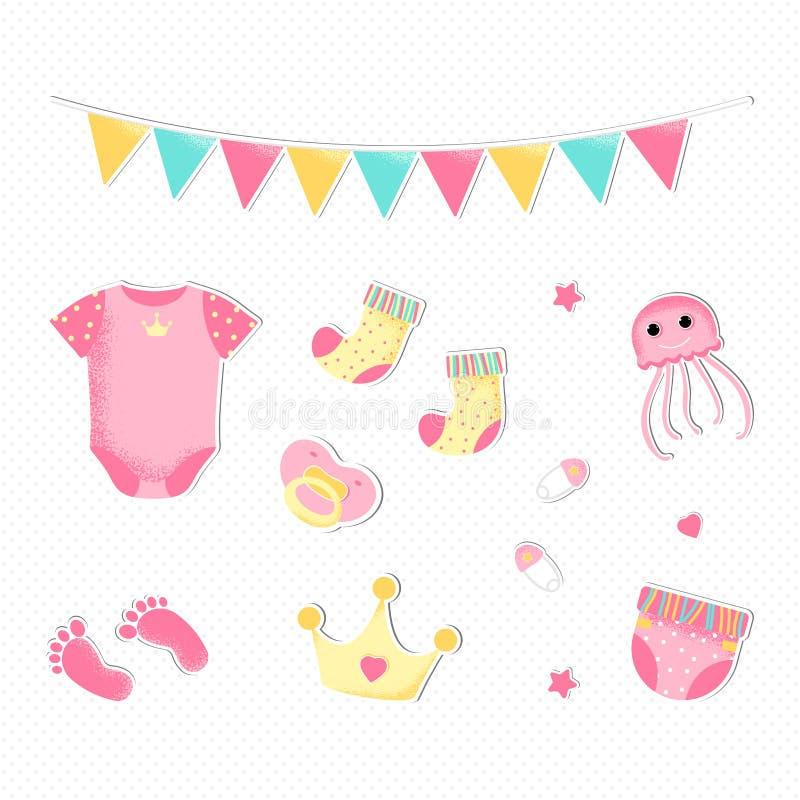 Estilo plano para una fiesta de bienvenida al beb? de la muchacha stock de ilustración