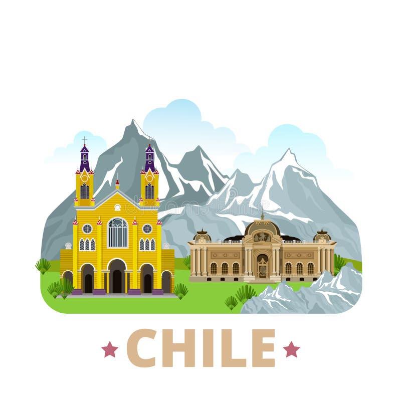 Estilo plano w de la historieta de la plantilla del diseño del país de Chile stock de ilustración