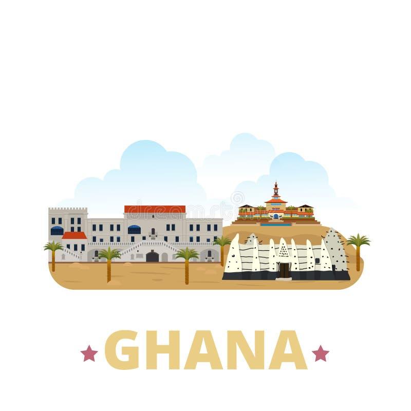 Estilo plano w de la historieta de la plantilla del diseño del país de Ghana ilustración del vector