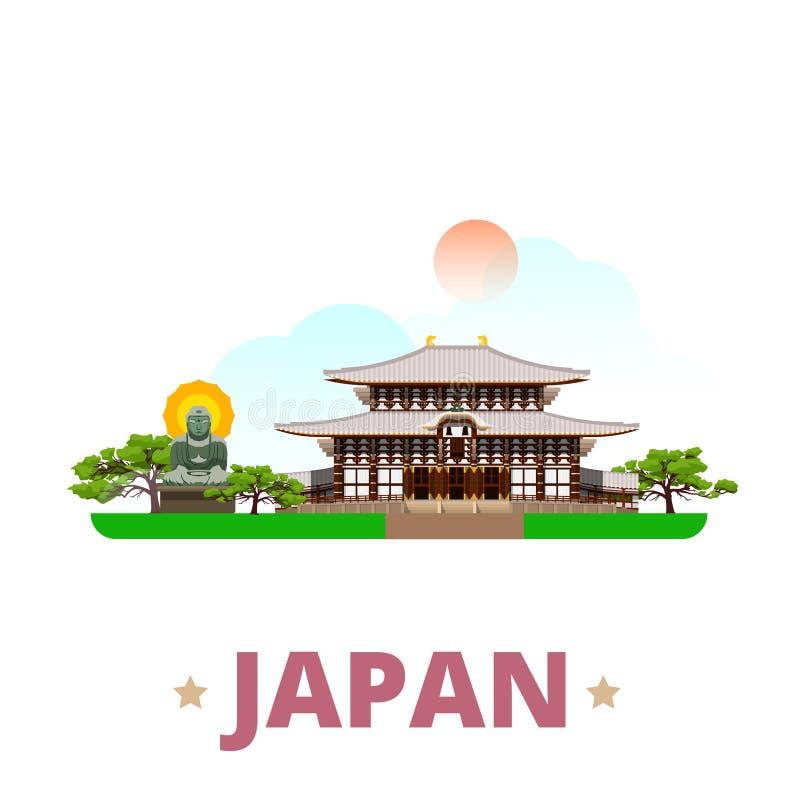 Estilo plano w de la historieta de la plantilla del diseño del país de Japón stock de ilustración