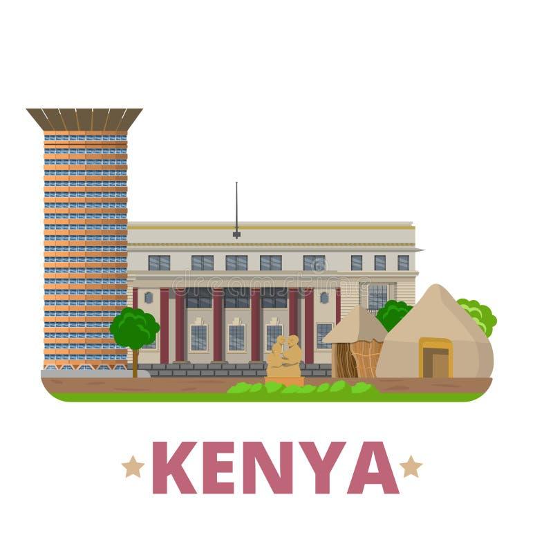 Estilo plano w de la historieta de la plantilla del diseño del país de Kenia stock de ilustración