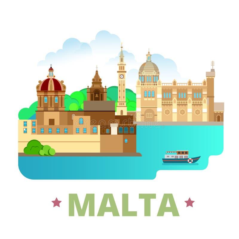 Estilo plano w de la historieta de la plantilla del diseño del país de Malta stock de ilustración