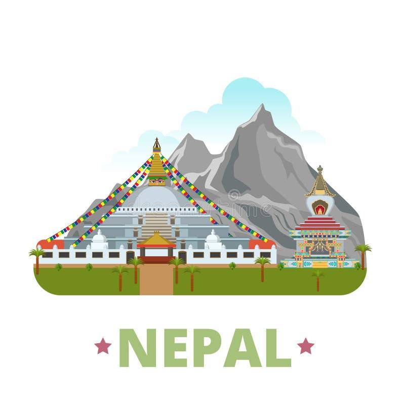 Estilo plano w de la historieta de la plantilla del diseño del país de Nepal ilustración del vector