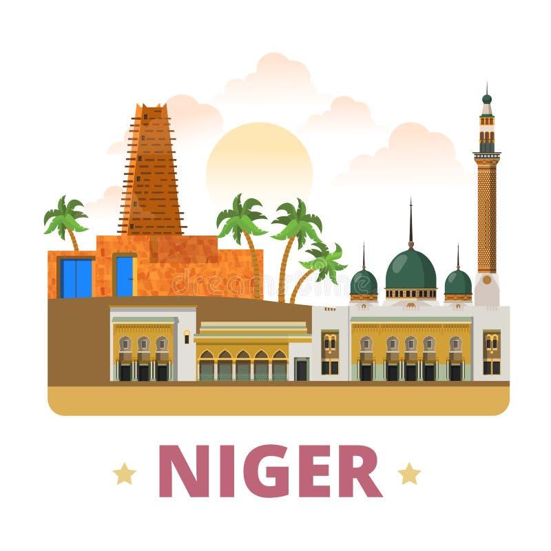Estilo plano w de la historieta de la plantilla del diseño del país de Niger stock de ilustración