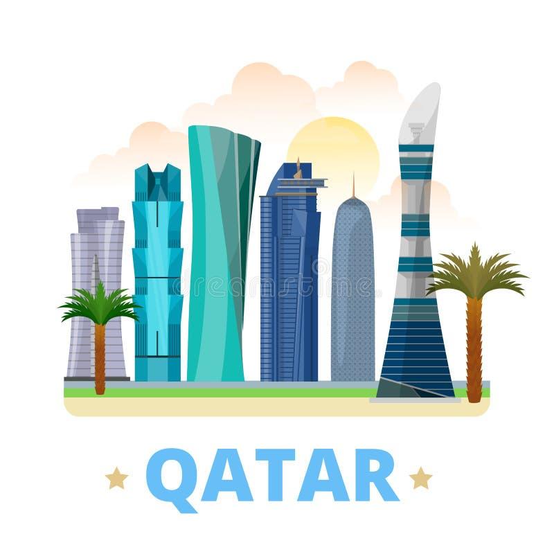 Estilo plano w de la historieta de la plantilla del diseño del país de Qatar ilustración del vector