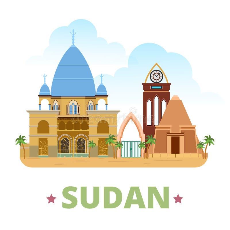 Estilo plano w de la historieta de la plantilla del diseño del país de Sudán stock de ilustración