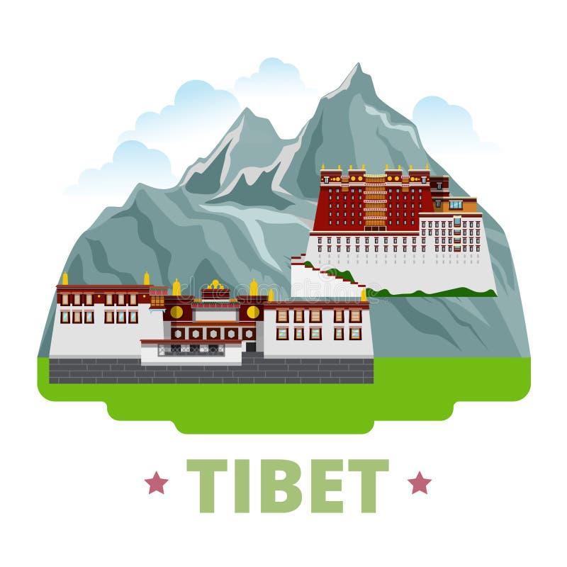 Estilo plano w de la historieta de la plantilla del diseño del país de Tíbet stock de ilustración