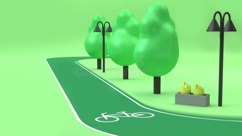 estilo poli dos desenhos animados da rendição das árvores 3d dos parques do verde da pista da bicicleta baixo, conceito do ambien ilustração do vetor