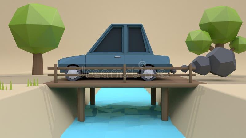 Estilo poli dos desenhos animados do carro azul baixo na estrada de madeira do ponte-país com rendição marrom macia do fundo 3 ilustração royalty free