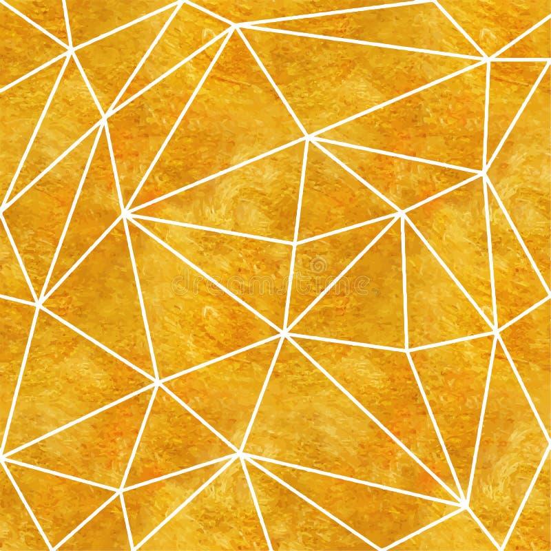 Estilo poligonal geométrico del art déco del oro para casarse la invitación, plantillas de lujo, modelo decorativo Elemento abstr stock de ilustración