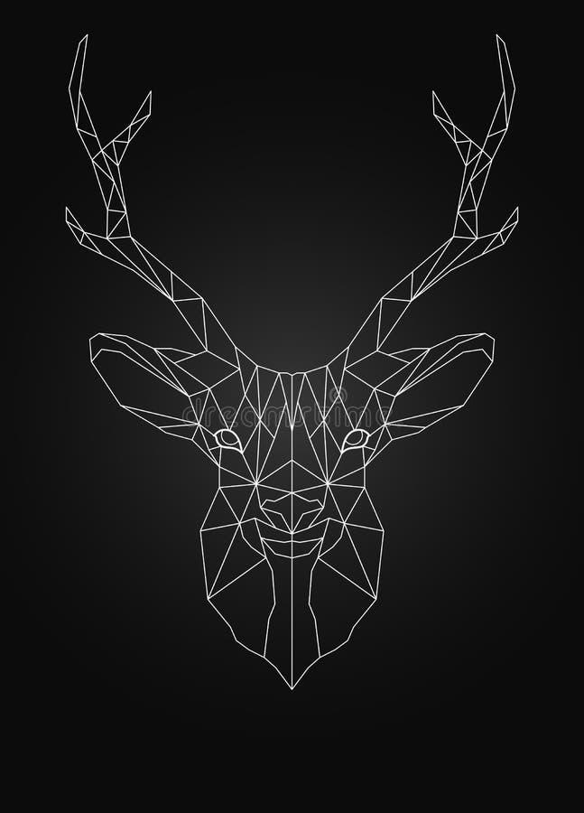Estilo polivinílico del ow linear del alambre de la cabeza de los ciervos fotografía de archivo