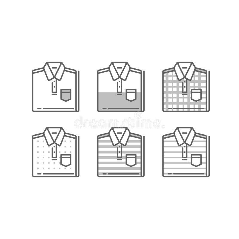 Estilo polo, camisa doblada, opción del desgaste de hombres, ropa informal, guardarropa básico ilustración del vector