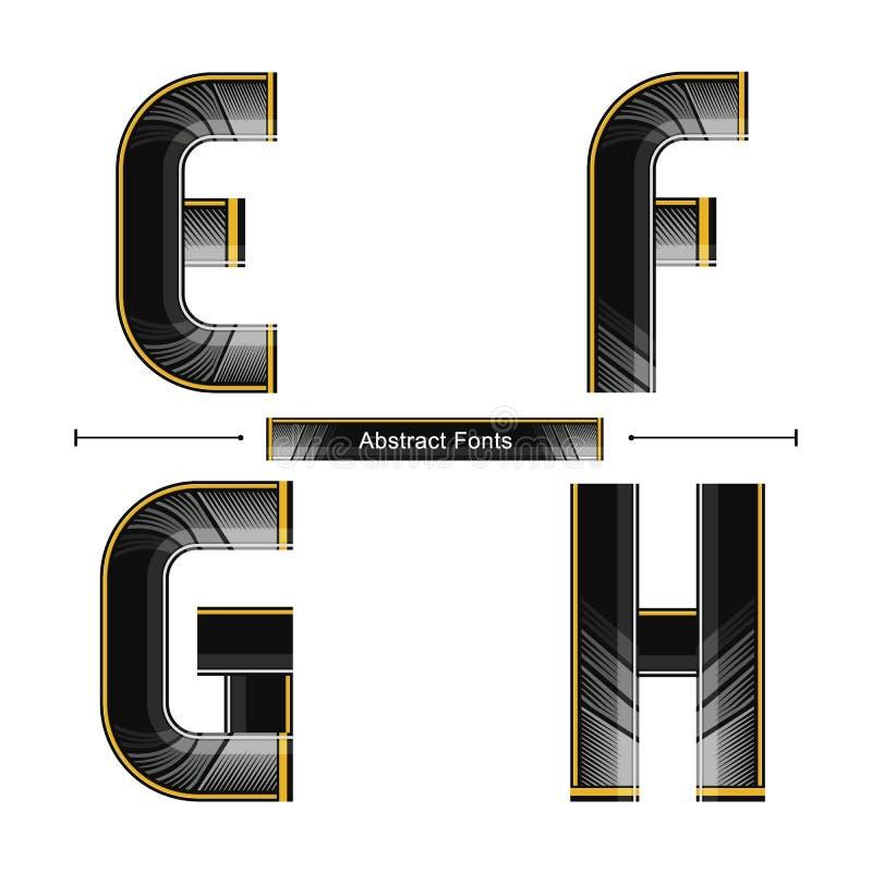 Estilo preto abstrato moderno da cor do alfabeto em um grupo EFGH ilustração do vetor