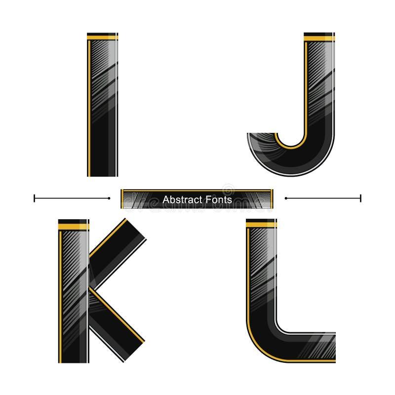 Estilo preto abstrato moderno da cor do alfabeto em um grupo IJKL ilustração stock