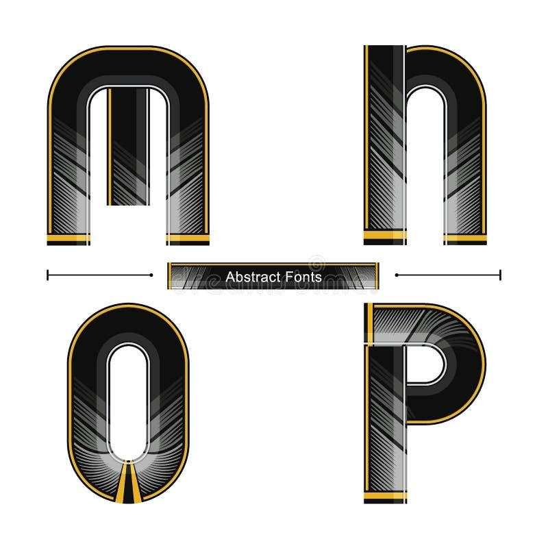 Estilo preto abstrato moderno da cor do alfabeto em um grupo MNOP ilustração royalty free