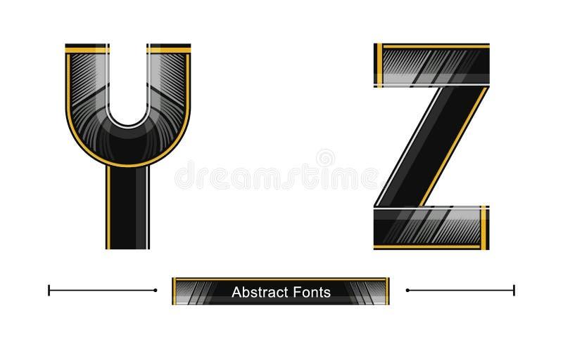 Estilo preto abstrato moderno da cor do alfabeto em um grupo YZ ilustração royalty free