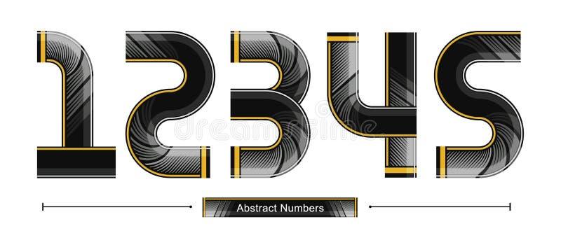 Estilo preto abstrato moderno da cor dos números em uns 12345 ajustados ilustração royalty free