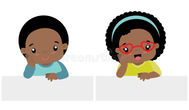 Estilo preto pequeno bonito de Kawaii do menino e da menina com a ilustração lisa ajustada do vetor da bandeira isolada no branco ilustração royalty free