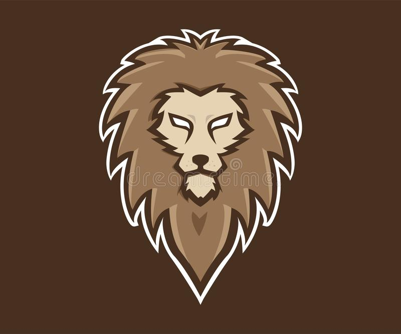 Estilo principal da ilustração do ícone do vetor do molde do logotipo do leão ilustração do vetor