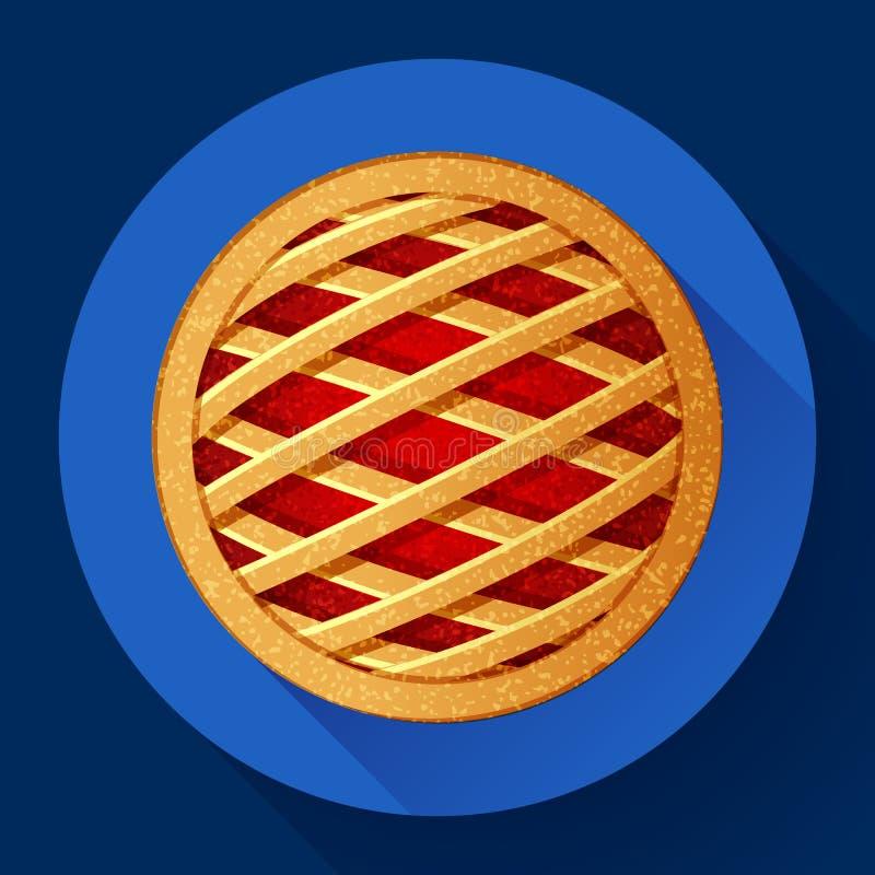 Estilo projetado liso do ícone do vetor da torta de Apple ilustração royalty free