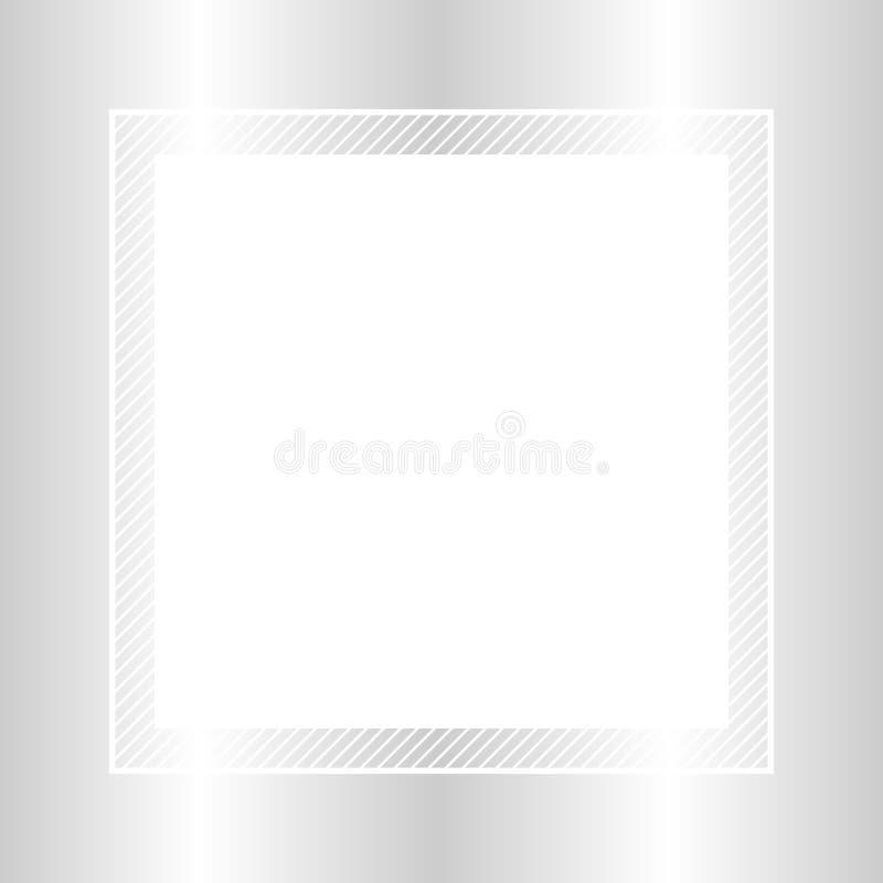 Estilo puesto plano color plata y cuadrado del marco de moda para el espacio de la copia, plata vacía del marco para el diseño de stock de ilustración