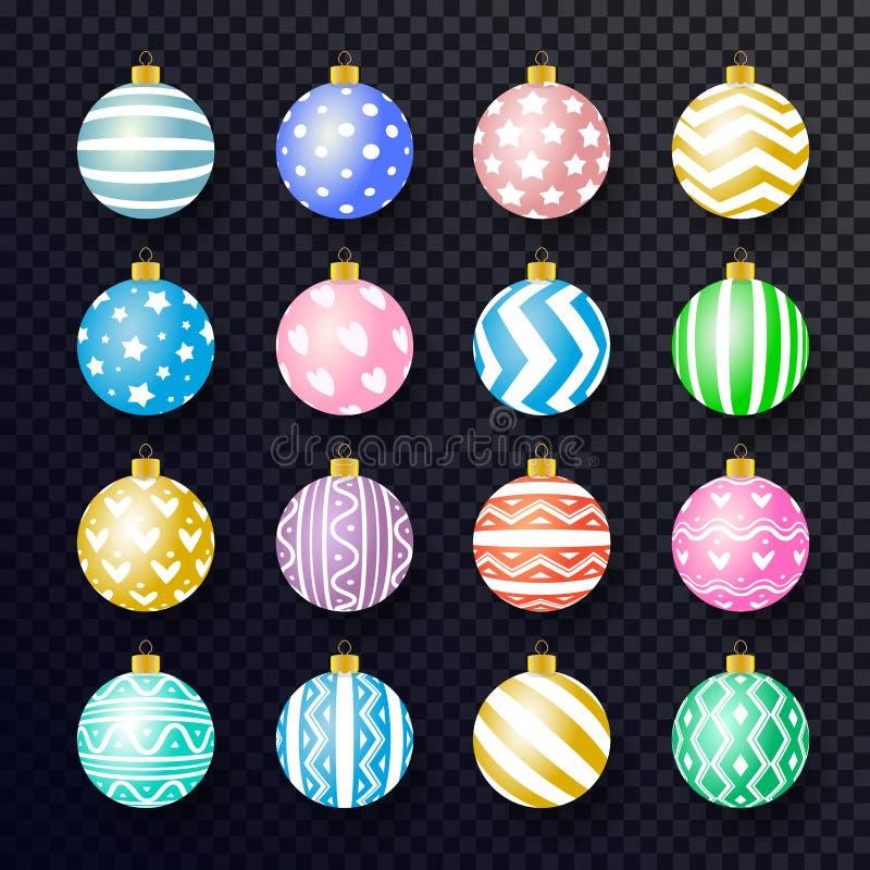 Estilo realístico colorido ajustado da bola do Natal do vetor ilustração stock