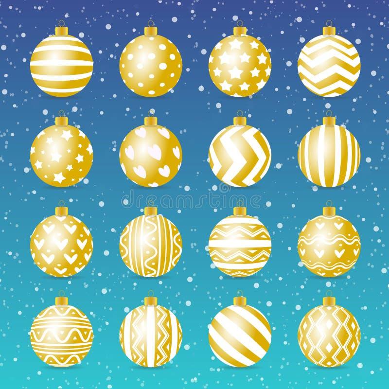 Estilo realístico do ouro ajustado da bola do Natal do vetor ilustração stock